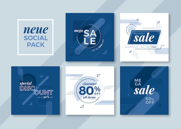Classic blue geometric square social media pack for instagram, faceboo, carousels