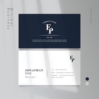 Classic blue minimal vintage business card