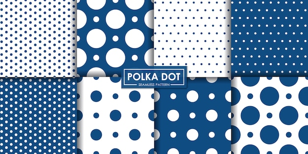 Classic blue polkadot seamless pattern collection