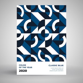 Classic blue poster template with puzzle design