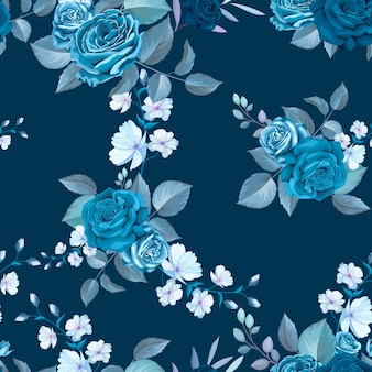 Classic blue seamless pattern with flowers