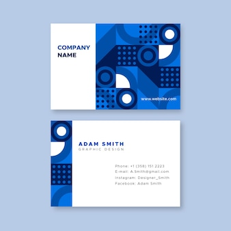 Classic blue shapes company card