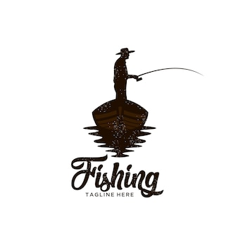 Classic boat fishing logo illustration