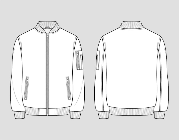 Classic bomber jacket. men's casual clothing. vector technical sketch. mockup template.