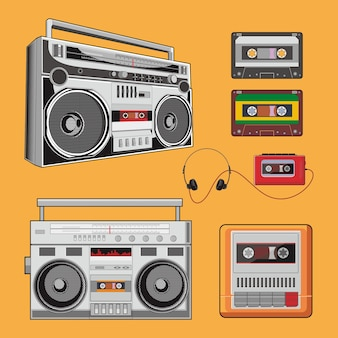 Classic boombox vector pack