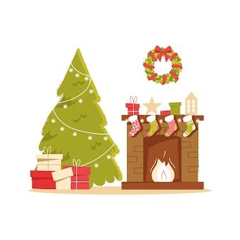 ニュートラルな背景にクリスマスソックスのプレゼントやギフトとクラシックなレンガ造りの暖炉