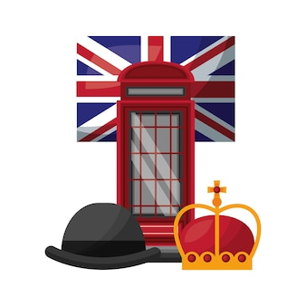 Classic british telephone booth with flag and set icons