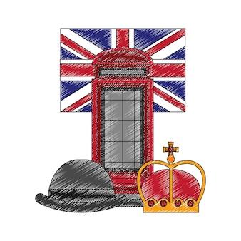 플래그 및 설정된 아이콘으로 고전적인 영국 전화 부스