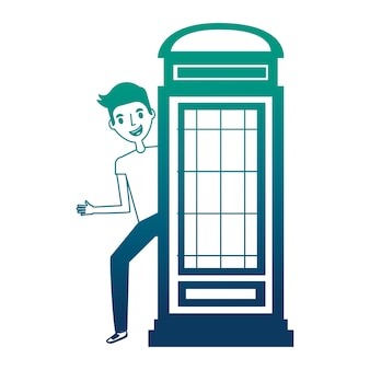 Classic british telephone booth with young man