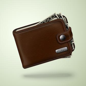 지폐와 클래식 브라운 가죽 지갑