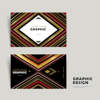 Classic business card template design with ethnic patterns