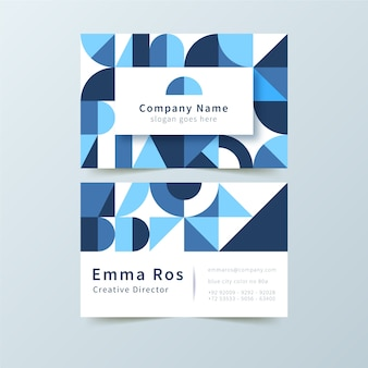 Classic business card with blue shapes template