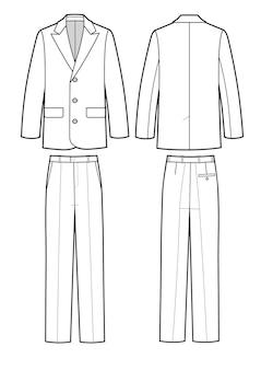Классический деловой костюм для мужчин. куртка и брюки. униформа. векторная иллюстрация