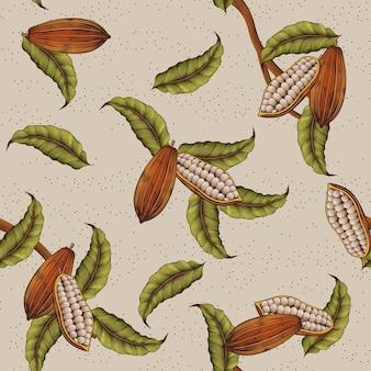 Классический фон растения какао в стиле гравюры