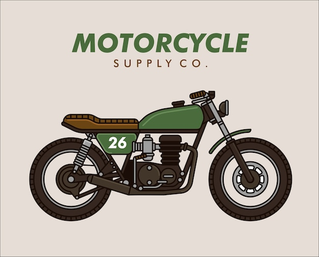 Classic cafe racer motorcycle vector line illustration