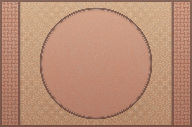 Classic camel color chinese pattern background with round frame