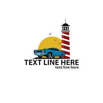 Классический автомобиль и логотип маяка