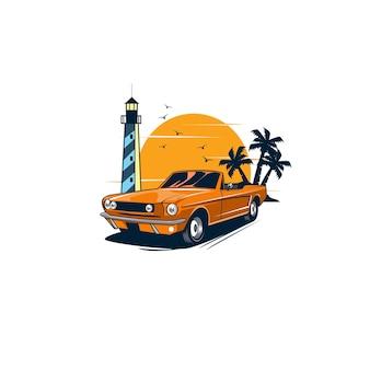 Классический автомобиль и маяк