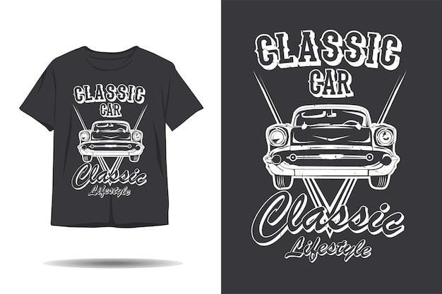 클래식 자동차 클래식 라이프 스타일 실루엣 tshirt 디자인