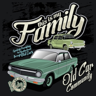 Classic car community, car vector illustration