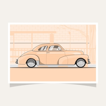 Classic car conceptual design flat illustration vector