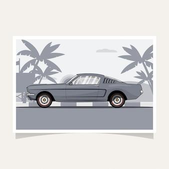 Classic car conceptual design flat illustration vector
