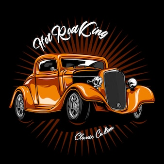 Classic car illustration on colid color