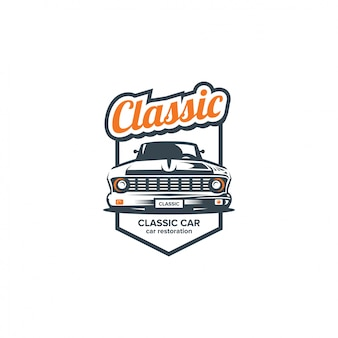 Classic car illustration, front view