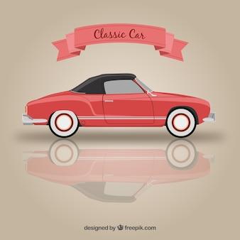 赤い色でクラシックカー