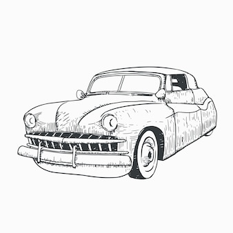 Classic car line art illustration