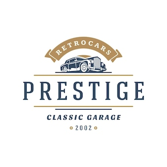 Classic car logo template design element vintage style
