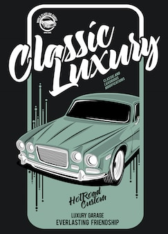 Classic car luxury, illustration of a classic race car