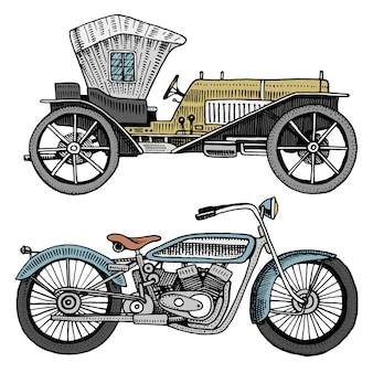 Classic car, machine or engine and motorcycle or motorbike illustration. engraved hand drawn in old sketch style, vintage transport.