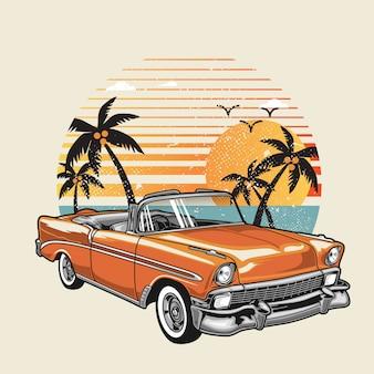 여름 해변에서 클래식 자동차