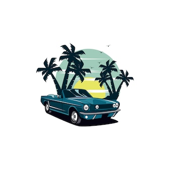 Classic car and palm beach