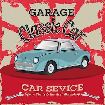 Classic car repair shop, car vector illustration
