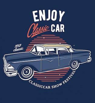 Classic car show emblem