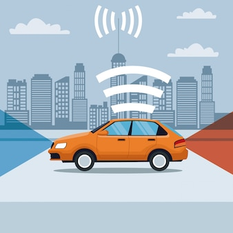 무선 sygnal 위성 거리에서 클래식 자동차 차량