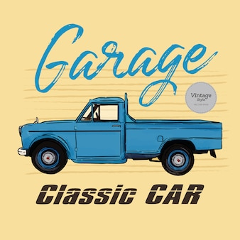 Classic car, vintage style. hand draw sketch vector.