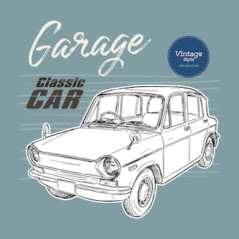 Classic car, vintage style. hand draw sketch.