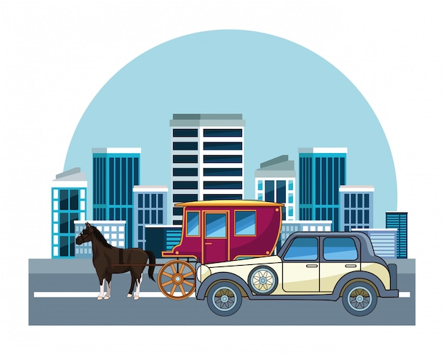 Classic cars and horse carriages vehicles