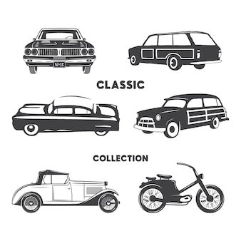 Classic cars silhouette set. vintage cars and motorcycle shapes, icons isolated