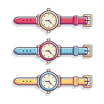 Classic casual hand watch vector flat illustration