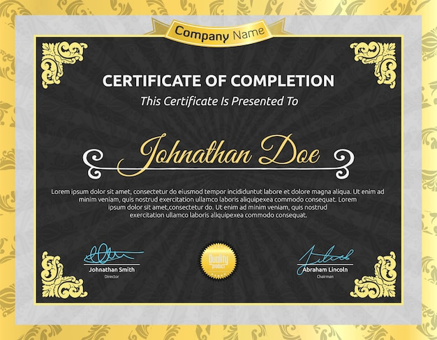 Classic certificate of completion template, ready to print