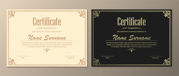 Classic certificate of completion template