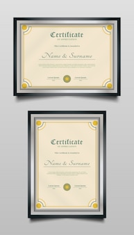 Classic certificate template with colorful ornamental frame