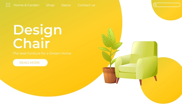 Классический стул для вашего дома дизайн интерьера баннер Бесплатные векторы