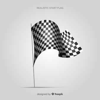 Classic checkered flag with realistic design