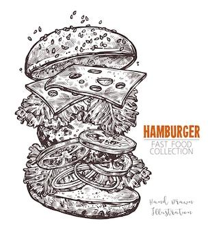 Classic cheeseburger hand drawn engraving sketch.