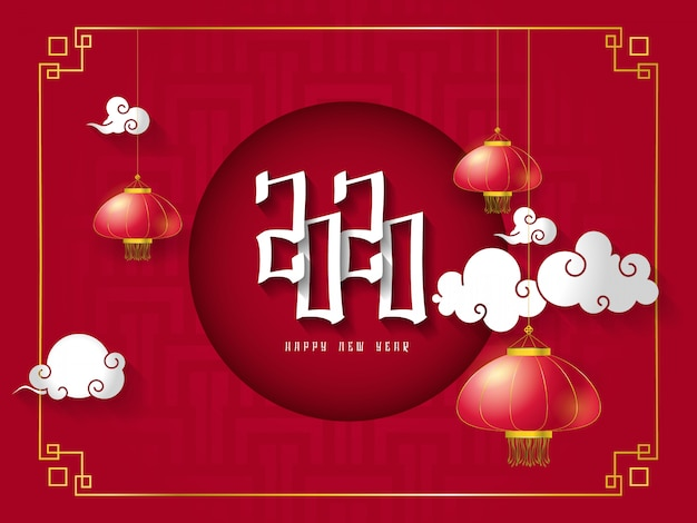 Classic chinese new year background. hanging paper lanterns and 2020 numbers on red background